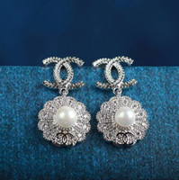Wholesale big blue flower plates for sale - Group buy Fashion Women Earrings For Wedding Silver Plated Brincos Big Blue Austrian Crystal Stud Clip On Earrings Statement Jewelry