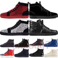 botas de tacón bajo al por mayor-top 2019 fondo rojo gz zapatos 19ss calcetín de pico donna spikes tops zapatillas de deporte de los hombres chaussures talones para hombre baja de las mujeres botas altas diseñador remache