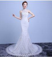 noivas vestidos de noiva fishtail venda por atacado-Nova moda pendurado rendas pescoço Magro cintura pequena fuga casamento vestido de noiva fishtail