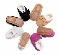 Wholesale suede leather baby moccasins for sale - Group buy Genuine suede Leather Baby moccasins shoes with fur insider fringe bow keep warm Toddler booties hard sole first walkers