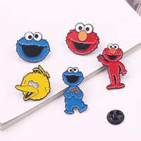 Wholesale lapel clips resale online - Sesame street Badge Elmo Cookie Monster Metal Anime Cartoon Broochs Lapel Pin Enamel Brooch Cosplay Accessories Gifts For Friend