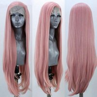 Wholesale straight pink cosplay wig online - New Sexy Free Part Long Burgundy Pink Yellow Wig Long Straight Synthetic Lace Front Wigs for Women Heat Resistant Fiber Cosplay Party Wig