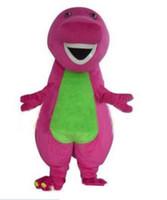 vestido de dinossauro adulto venda por atacado-2019 hot alta qualidade Barney dinossauro mascote trajes de Halloween dos desenhos animados tamanho adulto fantasia