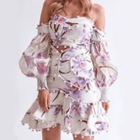 mujeres sexy cuello tops al por mayor-2019 Primavera Más nuevos conjuntos de mujeres Sexy Cuello Slash Top corto y sexy Mini falda de cintura alta Falda Estampado de flores Crop Top 2 piezas Set