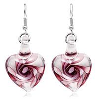 inspirierte ohrringe großhandel-Italien Murano spornte Art und Weisespirale-Blumenglasohrringe Herz-Form-Baumel-Ohrringe für Frauen-Mädchen-Partei 10pairs / lot an
