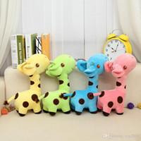 brinquedos bonitos girafa venda por atacado-35 cm Bonito Do Bebê Brinquedos Rainbow Giraffe Plush Toys Dolls Para Crianças Brinquedos Kawaii Presente Para Presentes de Natal Do Bebê crianças brinquedos