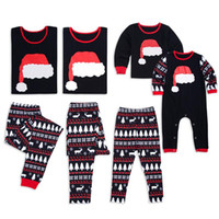 Wholesale family clothes matches resale online - Christmas Santa Cap Pajamas Family Matching Outfits Dad Mom Baby Elk Tree Sleepwear Matching Clothes Xmas Christmas Hat Homewear