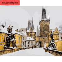Wholesale painting snow landscape for sale - Group buy Painting By Numbers Winter Landscape Drawing On Canvas Handpainted Snow Art Picture Kits Diy Gift Home Decoration