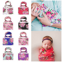Wholesale hot blankets resale online - hot European and American children s baby Blankets newborn babys Swadding hair band set wrapping towel set Home Textiles T2C5248