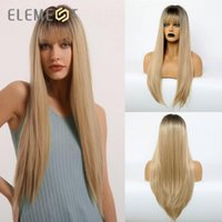Wholesale black wig white bangs for sale - Group buy High Temperature Synthetic Ombre Blonde Wig Long Silky Straight Cosplay Wigs with Bangs for White Black Women