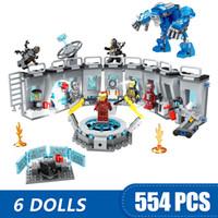 erkekler için kız oyuncakları toptan satış-608 ADET Küçük Yapı Taşları Oyuncaklar ile Uyumlu Legoe Demir Adam Zırh Hall of Süper Kahramanlar Avengers Hediye kız erkek çocu ...