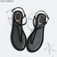 band flip toptan satış-Sandalet 2019 Ayak Bileği Kayışı Ayakkabı Kadın Düz Sandalet kristal Bant Yaz Ayakkabı Kız Çevirme Büyük Boy Bohemia