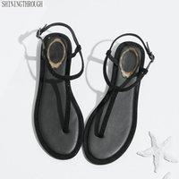ingrosso sandali di grandi dimensioni della ragazza-Sandali 2019 Cinturino alla caviglia Scarpe Donna Sandali piatti cristallo Band Scarpe estive Ragazza Infradito Big Size Bohemia