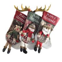 child educational books toptan satış-2019 3 Stilleri Büyük Çorap Hediye Çanta dokunmamış Noel Çorabı Hissettim Santa Kardan Adam Elk Noel Çorabı