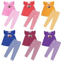 kızlar çocuklar futbol toptan satış-Kız Futbol Baskılı Giyim Dot Baskılı Çocuk Tasarımcı Giyim Kız Çizgili Baskılı Pantolon Tops 6 Designs tulum 9M-6T 04 ayarlar