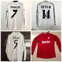 Wholesale ronaldo real madrid jersey for sale - Group buy Retro Real Madrid long sleeve soccer jerseys ZIDANE RAUL RONALDO KAKA Retro football full shirt