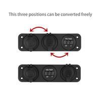 voltímetro digital dual al por mayor-12V Dual Car Cigarette Lighter Socket Adaptador USB Cargador + voltímetro digital YKS Envío Gratis