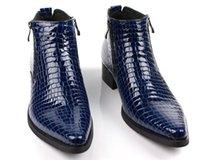 tan mens dress shoes leather 도매-Large Eur46 Black / Brown Tan / Blue 지퍼 Mens 발목 부츠 정품 가죽 비즈니스 부츠 Mens Dress Shoes