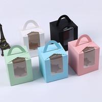 caixas de bolo simples venda por atacado-Único cupcake caixas com janela com alça caixa de macaron caixa de bolo de mousse Festa de Aniversário Suprimentos WX9-1487