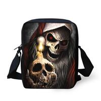 bolso cruzado cuerpo calavera al por mayor-Cool Punk Skull Impresión Messenger Bag para Hombres Mini Niños Niños Bolsas Cruzadas Pequeñas Bolsas Sling Casual Bolsas Feminina