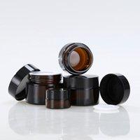 kosmetikglas verpackung gold großhandel-5g 10g 20g 30g 50g Travel Mini Sahneglas Bernstein Glasbehälter mit Gold Schwarz Silberkappe Cosmetic Packaging