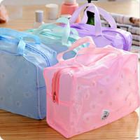 ingrosso floreale compongono borsa-Borsa a tracolla organizer da 5 colori Borsa da toeletta da toilette Floreale impermeabile in PVC trasparente da viaggio. Borsa impermeabile da donna