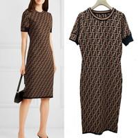 linha da marca do vestido venda por atacado-Mulheres Designer de Vestidos de Marca de Qualidade Superior de Toda a Letra FF Malha Camisola Vestido de Luxo Mulheres Lady Slim Fit Vestidos