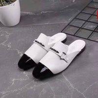 ingrosso donne cc appartamenti-New French Designerdesigner fondo piatto pantofole da donna catena in pelle confortevole CC sandali femminili scarpe casual 35-41 taglia F055AH0