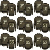 Wholesale salute service ice jerseys for sale - Group buy St Louis Blues Stanley Cup Champions Ryan O Reilly Binnington Schwartz Authentic Green Salute to Service Jerseys