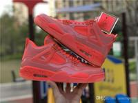 zapatillas de baloncesto rosa al por mayor-Nueva llegada zapatos de baloncesto 4 4s NRG Hot Punch para hombre para mujer zapatillas de deporte de cuero de patente de color rosa exterior zapatos de diseñador