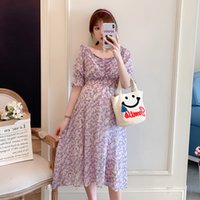 Wholesale korean maternity clothes resale online - 2041 Summer Korean Fashion Maternity Dress V Neck Slim High Waist Clothes for Pregnant Women Elegant Floral Chiffon Pregnancy