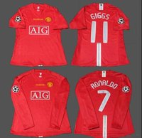 maillot jersey fußball großhandel-2007 2008 C Ronaldo Giggs Rooney Scholes NANI MAN Fußball-Fußball-Trikot der Fußball-08-Liga Maillot UTD Fußball-Shirts Camiseta