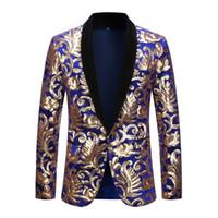 Wholesale club singer clothing online - Men Shawl Lapel Blazer Designs Black Velvet Gold Flowers Sequins Suit Jacket DJ Club Stage Singer Clothes