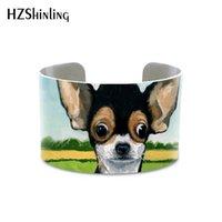 metal el manşetleri toptan satış-Toptan 2019 Güzel Chihuahua Köpek Manşet Bilezik Köpek Severler Metal Bileklik Ayarlanabilir Manşetleri El Zanaat Takı