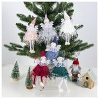 ingrosso rosa bambola rosa natalizia-Red White Angel Decorazione natalizia Ciondolo Simpatico peluche Bambola Albero di natale Ornamento Decorazioni per feste per Capodanno a casa