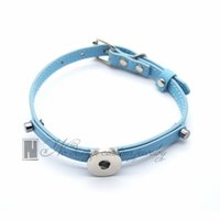 Wholesale blue leather dog collars resale online - Light blue pet collar snap PU leather collar for Snap button jewelry Interchangeable jewelry Suitable for pet dog and cat NE0449