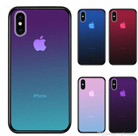 Wholesale x ray glasses resale online - Cyberstore Clear Tempered Glass phone Case For iPhone XS Max XR X Plus Gradient Color Blue Ray Aurora Skin Back Cover