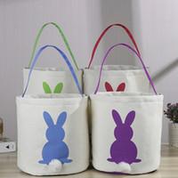 Wholesale bunny rabbit cartoon online - Cute Easter Rabbit Basket Round Canvas Gift bag cartoon cute Bunny tails bucket Put Easter Jute rabbit DIY pail buckets