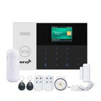 controle remoto gprs venda por atacado-WIFI GSM GPRS Sistema de alarme APP cartão RFID Controle Remoto Arm Disarm com ecrã a cores de botão SOS Línguas comutável