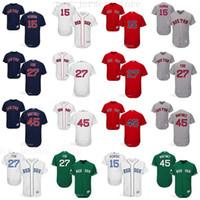 camisa de beisebol 15 venda por atacado-Personalizado Homens mulheres jovens Majestic Red Sox Jersey # 15 Dustin Pedroia 27 Carlton Fisk 45 Pedro Martinez Casa Azul Vermelho Costurado Camisas De Beisebol