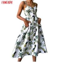 ingrosso tuniche in boemia-Summer Women Dress 2019 Vintage Sexy Bohemian Floral Tunica Beach Vestitino Vestito estivo Rosso Vestito bianco a righe Marchio femminile Ali9