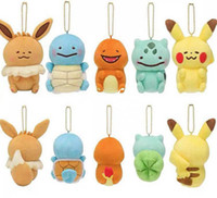 Wholesale charmander keychain resale online - New CM Styles Pkc Eevee Charmander Bulbasaur Squirtle Plush Doll Soft Pendants Keychain Best Gifts For Kids