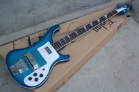Wholesale white bass guitar strings resale online - Factory Custom New Arrival strings Rosewood Fingerboard Blue Electric Bass Guitar with Chrome hardware White Pickguard offer customize