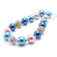 knickentenblaue farbe großhandel-Fashion Neueste Kid Chunky Halskette Teal Blue + Gold Farbe Bubblegum Bead Chunky Halskette Kinder Schmuck Für Kleinkind Mädchen