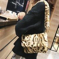ingrosso sacchi a freddo di stampa di leopardo-Borsa a tracolla in pelliccia sintetica invernale da donna Borsa a mano con stampa leopardo Borsa da donna Borsa piccola da bambina Regalo di Natale