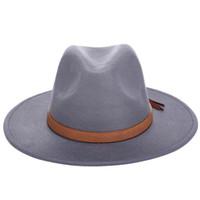 sombrero de fieltro de ala ancha al por mayor-2019 otoño invierno sol sombreros mujeres hombres sombrero suave clásico de ala ancha fieltro flochpy cloche cap capeau imitación lana cap