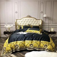 Wholesale egyptian beds resale online - new Court style European Style Luxury Egyptian cotton Brand Gold black Bedding set King Queen Size Duvet Cover Bed Skirt Pillowcases
