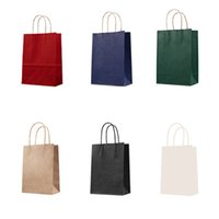 çanta hediye paketi kağıdı toptan satış-1 ADET Moda kraft kağıt hediye çantası saplı / alışveriş torbaları / Noel kahverengi ambalaj çanta / Mükemmel kalite 3 boyutları