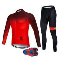 jersey rojo de manga larga al por mayor-Conjunto de jersey de ciclismo Polar de invierno Manga larga Cálido degradado rojo y negro Ropa Ciclismo Hombre Set Kits de ciclo 2019
