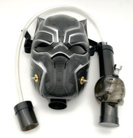Wholesale smoke mask bong online - Gas Mask Smoking Bong Water Pipe Black Panther Acrylic Gas Mask Dab Rig With Straight Tube Hookah In Stock